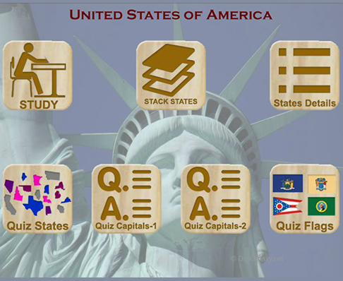 United States of America Puzzles Quiz States Capitals Flags Software